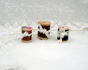 Vintage Wooden Spools of Thread-Set of Three in Shades of Brown