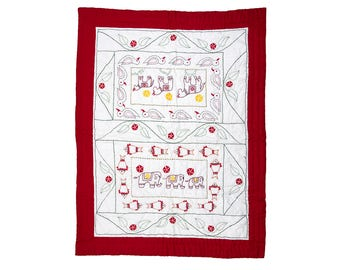 BABY COT QUILT - Bengali Embroidered - Animals design