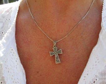 Ornate Sterling Silver Prayer Box Cross Pendant Necklace