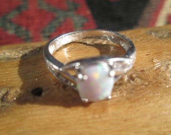 Vintage Opal and Sterling Silver Ring Size 7.25