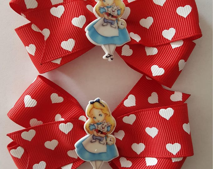 Featured listing image: Alice in Wonderland Heart Hair Bows x 2 Boutique bows red with white hearts