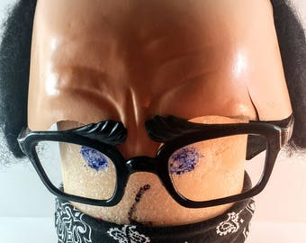 Vintage Made in France Bald Man with Glasses Cap/Mask. Mid Century Humorous, Silly, Nerdy Halloween Decor. 1960's Costume Accessory, Prop.
