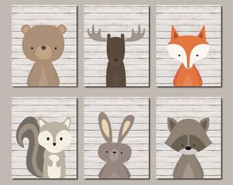Boy Nursery Decor Woodland Nursery Wall Art Woodland Animals Nursery Prints Or Canvas Set of 6 Woodland Friends Wall Art