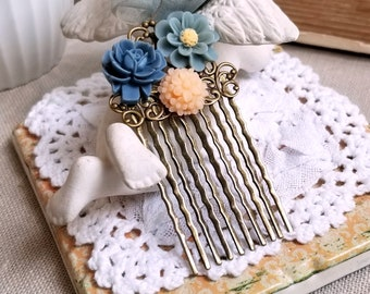 Dusky blue and peach Flower girl Bridesmaid hair comb Rustic hair comb