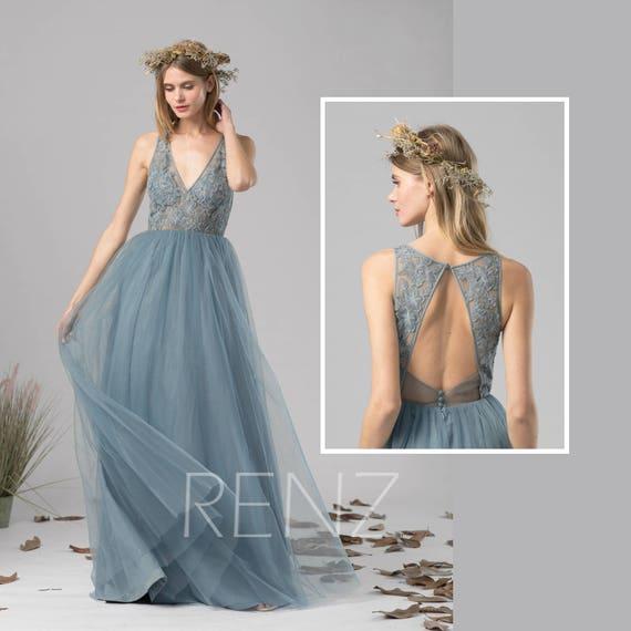 Bridesmaid Dress Dusty Blue Tulle Dress Wedding Dressillusion