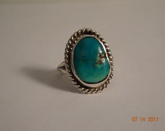 Silver and Turquoise Ring - size 6