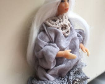 Olive tanned doll in stylish outfit with waterfall hair made with love Teenage doll