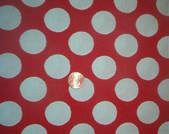 Jumbo extra large red & white polka dot fabric-In the Beginning fabrics