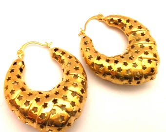Vintage Huge Women Earrings Openwork Stars Fantastic Gipsy Style