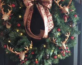 Christmas wreath, deer wreath, man cave country wreath, farmhouse wreath, country decor, christmas decor