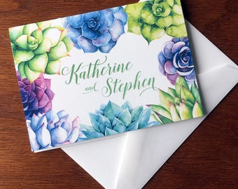 Wedding Thank You Notes, Succulent Stationery, handmade wedding stationery, bride and groom wedding thank you cards thank you notes wedding