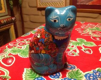 Vintage ceramic terra cotta hand painted cat figurine- Mexico