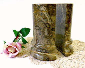 Vintage Stone Column Bookends, Polished Travertine Marble Office Decor, Heavy Library Bookends