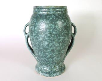 "Robinson Ransbottom Vase #187 Green Victoria Glaze 8"" Tall Vintage 1938"