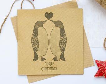 Merry Christmas Penguin card, Festive card, Christmas card, Xmas card, Penguin card, Vintage Christmas, Handmade card, Blank inside