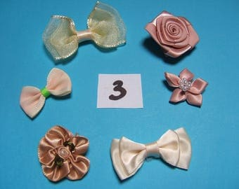 No. 3 satin and organza flower decoration 20 to 30mm x 6 mm diameter