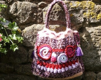 H30cmx38cm wool crochet handbag
