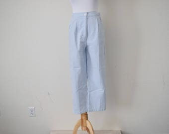 FREE usa SHIPPING Vintage seersucker womens pants/ pant acrylic/ retro/ high waist pants/ 1980s size 9/10