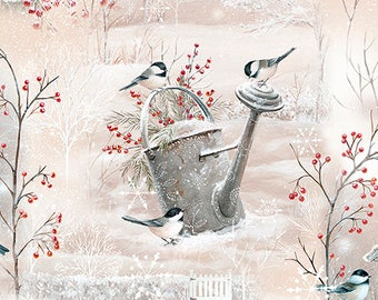 Bird House Fabric,  Bird Bath, Chickadee Vignette, Winter Garden - by Sarah Summers - Quilting Treasures 26239  - Priced by the 1/2 yd