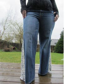Plus Size Lace Flare Bell Bottom Jeans