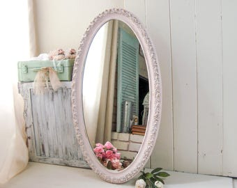 Large Pink Oval Mirror, Pink Nursery Mirror, Vintage Ornate Mirror, Pink and Gold Mirror, Shabby Chic Mirror, Bathroom Mirror, Gift Ideas