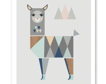 Llama Nursery Art Print, Mint and Navy. Kids art, kids art, nursery decor, modern nursery art, nursery wall art, girlsroom art, playroom art