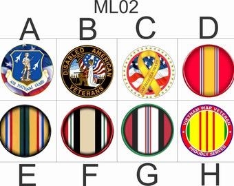 Military Snap Charms/Buttons Size #24 8mm or #20 4.76 mm . Armed Forces,Interchangeable Jewelry,Necklace, Veterans  ML02