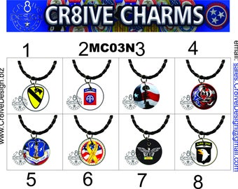 Military 1in Charm with Necklace. Armed Forces  Veterans,  MC03N