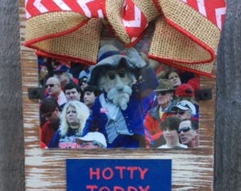 Ole Miss Hotty Toddy Whitewashed Rustic Frame