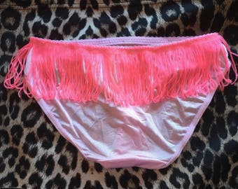 Baby pink tassle knickers size small with pink rose bud