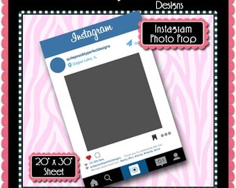 Instagram Photo Prop Instant Download PSD and PNG Formats (Temp732) Digital Photo Booth Template