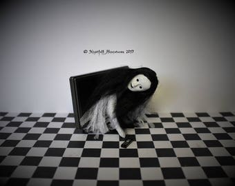 Dollhouse Miniature Spooky  Horror Ghost White Lady emerging from TV inspired by The Ring in 1:12 scale