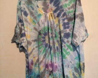 Women's 5X shirred top, dye splatter multicolor tie dye