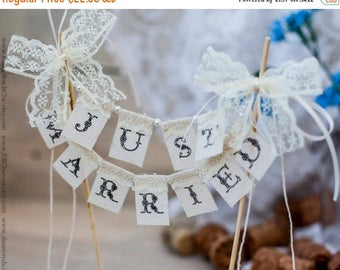 8% OFF SMALL Lace Just Married Wedding Cake Topper Banner with pearls