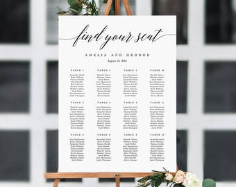6 Sizes Wedding Seating Chart Template, Editable Wedding Table Seating Chart Poster Sign - PDF Instant Download Modern Script Find Your Seat