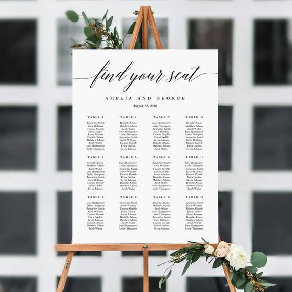 On sale 7 sizes wedding seating chart template editable