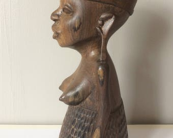 AFRICAN CARVING - beautiful king ebony vintage African carving - mid 20th Century (East Africa)
