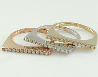 Diamond wedding Ring(Band) or Stacking Rings, U pave setting,14 K. white,yellow or Rose(pink) gold hand made in U.S.