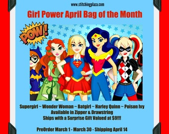 Girl Power Inspired Project Bag of the Month 2018: March Drawstring / Zipper, 1 month subscription