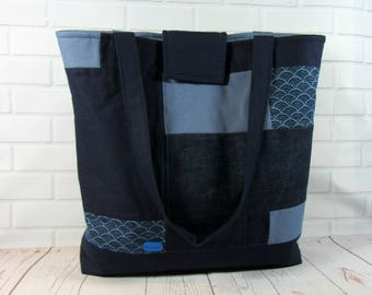 Patchwork tote bag, blue tote, indigo textile bag, handmade tote, tote with pockets, handmade tote, shoulder bag