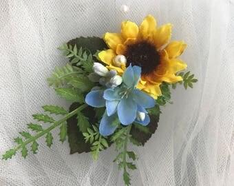 Wedding hair accessory, Sunflower wedding hair clip, sunflower hair accessory, flower girl hair accessory, wedding, girl's hair clip, yellow