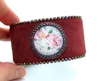 Marsala Floral Leather Cuff - Bohemian Cuff-Flower Bracelet-Statement Boho Bracelet-Enchanted Garden Bracelet-Leather Bracelet