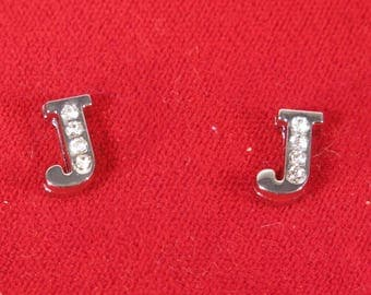"""BULK! 30pc """"letter J"""" 8mm slide charms in antique style silver (BC1375-J)"""