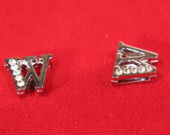 """BULK! 30pc """"letter W"""" 8mm slide charms in antique style silver (BC1375-W)"""