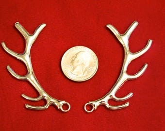 """Large! 10pc """"antler"""" charms in antique silver style (BC660B)"""