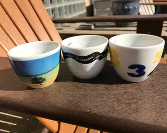 Vintage ILLY Collection 1993 Three Espresso Cups