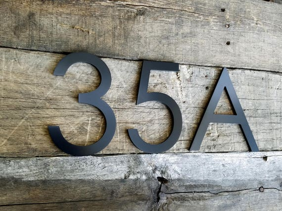 6 Black Modern House Numbers Stud Mounted Address