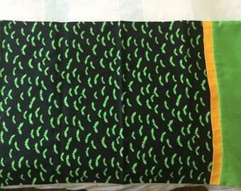 Halloween Pillowcase with Green Bats