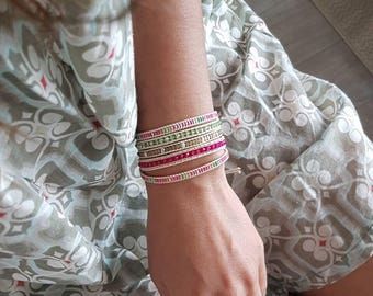 Pink & Green Five times Wrap Bracelet with tube seed bead and crystal