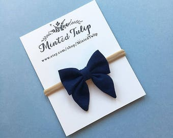 Solid Navy Blue Small or Large Sailor or Classic Bow on Headband or Hair Clip Baby Toddler Kids Spring